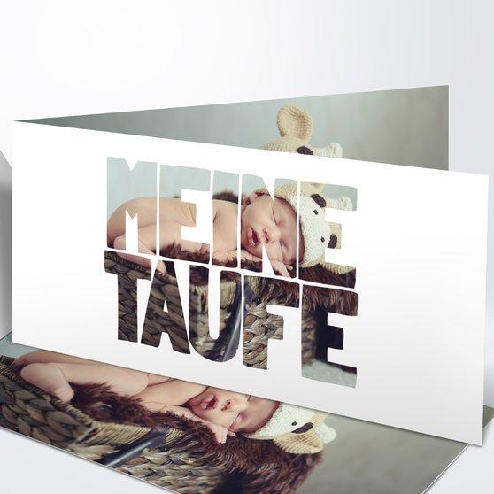 Taufe Fototext - Horizontale Klappkarte 210x100 - Weiß