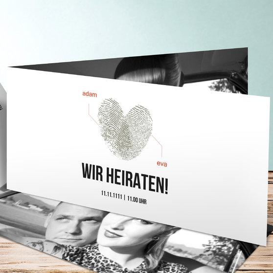 Fingerprint - Horizontale Klappkarte 210x100 - Weiß