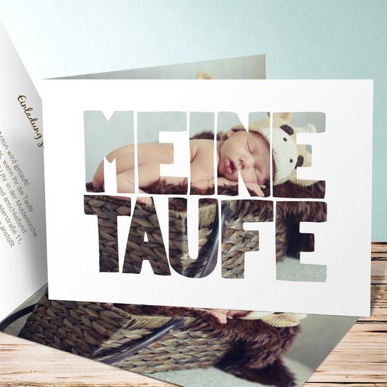 Taufe Fototext - Horizontale Klappkarte 148x105 - Weiß