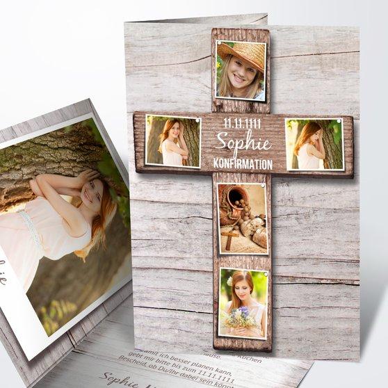 Konfirmationskarten - Kreuz mit Fotos