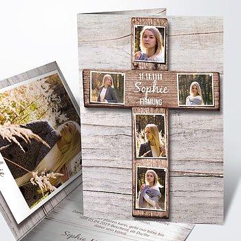 Firmung Karten - Kreuz mit Fotos