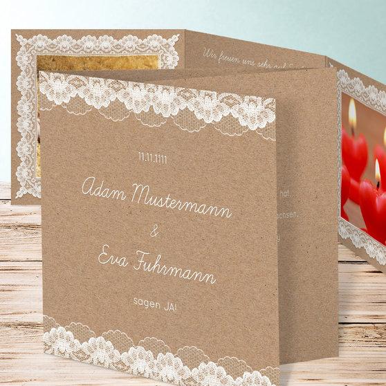 Hochzeitsspitze - Doppelklappkarte 145x145 - Dunkel Bisquite