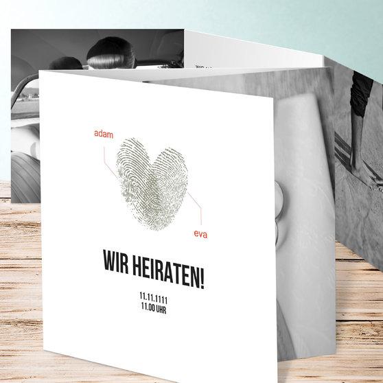 Fingerprint - Doppelklappkarte 145x145 - Weiß
