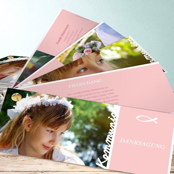 Meine Kommunion - Kartenfächer 210x80 - Rose
