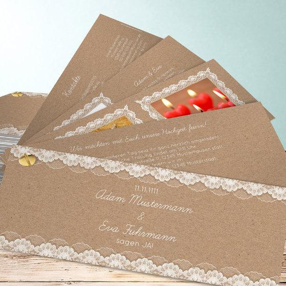 Hochzeitsspitze - Kartenfächer 210x80 - Dunkel Bisquite