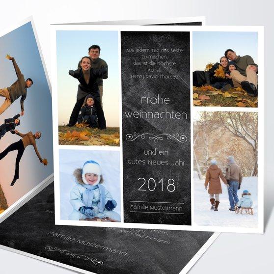 Weihnachtstafel - Quadratische Klappkarte 145x145 - Schwarz