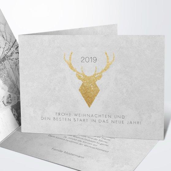 Weihnachtskarten - Goldener Hirsch