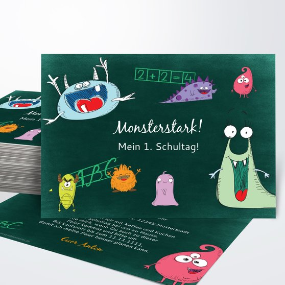 Einladungen zur Einschulung - School Monsters