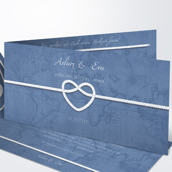 Starke Verbindung - Horizontale Klappkarte 210x100 - Feines Blau