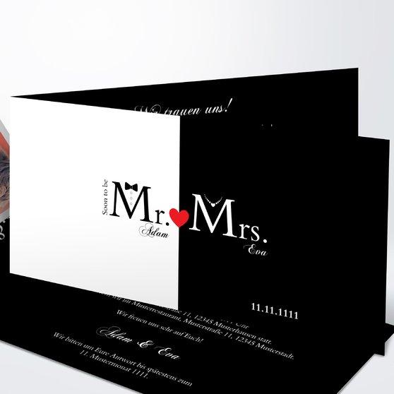 Mr & Mrs - Horizontale Klappkarte 210x100 - Weiß