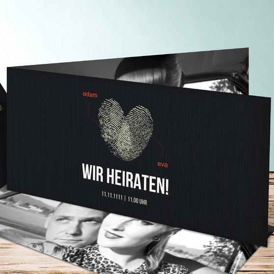 Fingerprint - Horizontale Klappkarte 210x100 - Schwarz