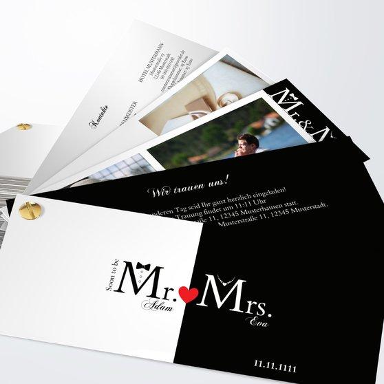 Mr & Mrs - Kartenfächer 210x80 - Weiß