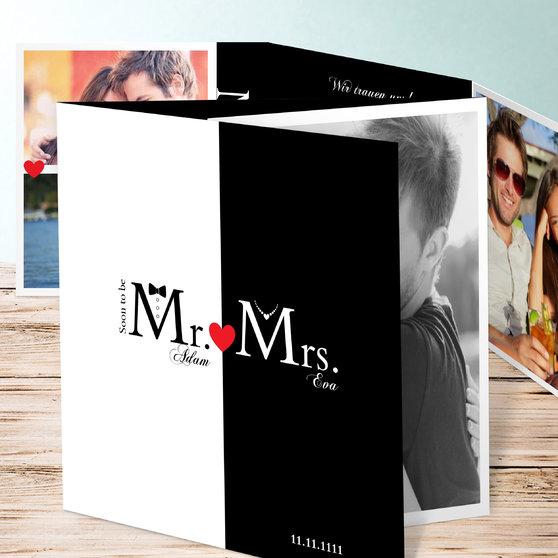 Mr & Mrs - Doppelklappkarte 145x145 - Weiß