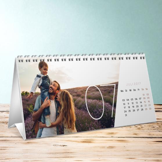 Quer durchs Jahr Tischkalender - Tischkalender 260x120 mm - Weiß