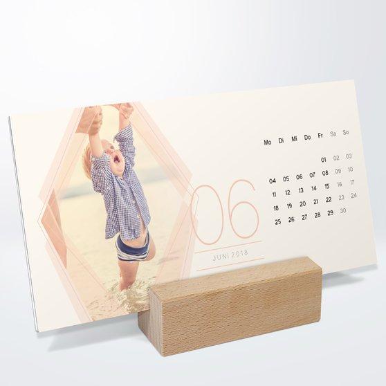 Polygon Tischkalender - 260x120 mm mit edlem Holzfuß - Weiß