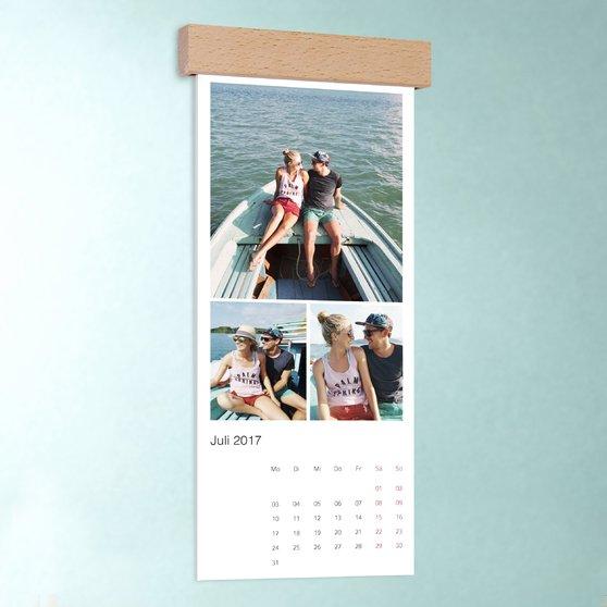 Klassisch - Wandkalender 148x360 mit edler Holzblende - Weiß