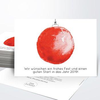 Weihnachtskarten Geschäftlich - Weihnachtskugel aquarell