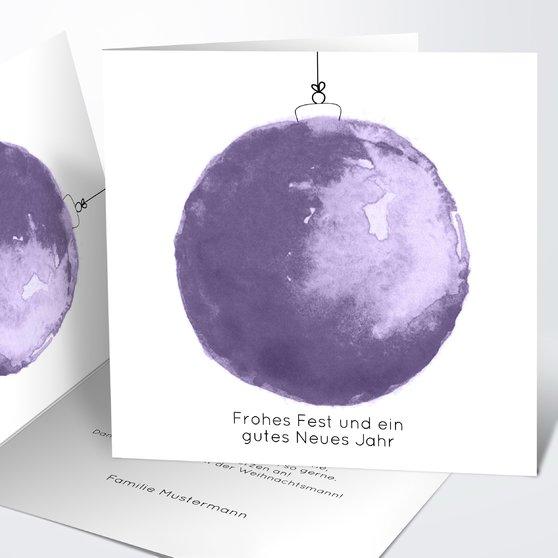 Weihnachtskarten - Weihnachtskugel aquarell