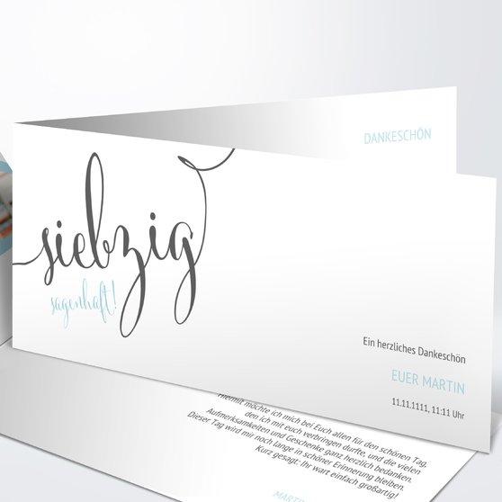 Sagenhafte Siebzig - Horizontale Klappkarte 210x100 - Weiß