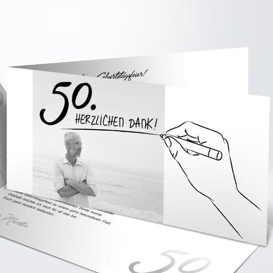 Handgeschrieben - Horizontale Klappkarte 210x100 - Weiß