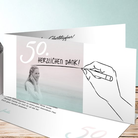 Handgeschrieben - Horizontale Klappkarte 210x100 - Hellrosa