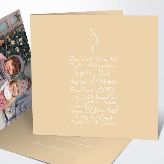 Buchstabenkerze - Quadratische Klappkarte 145x145 - Creme