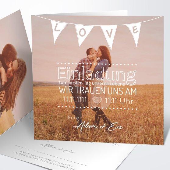 Liebeswimpel - Quadratische Klappkarte 145x145 - Weiß