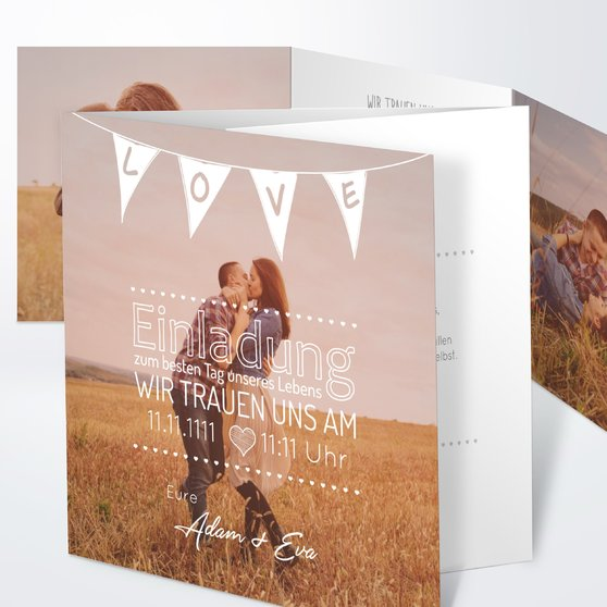 Liebeswimpel - Doppelklappkarte 145x145 - Weiß
