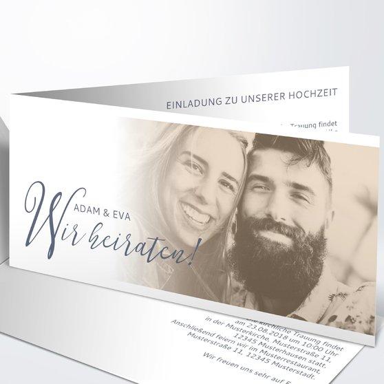 Unsere Bestimmung - Horizontale Klappkarte 210x100 - Dunkelgrau