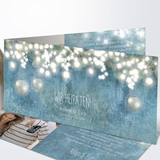 Luminaria - Horizontale Klappkarte 210x100 - Feines Blau