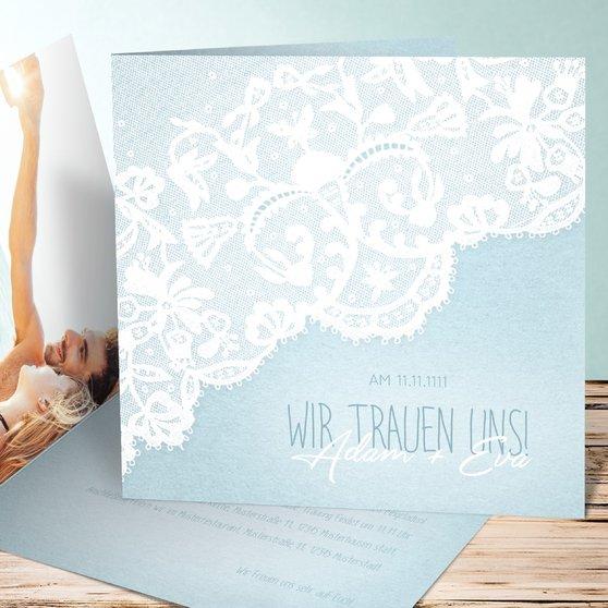 Pastellspitze - Quadratische Klappkarte 145x145 - Blau