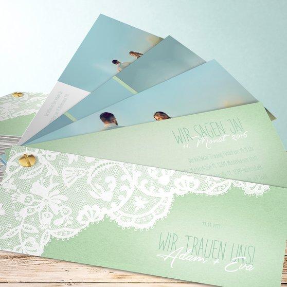 Pastellspitze - Kartenfächer 210x80 - Feines Aquamarin