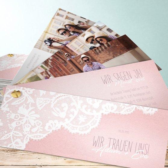 Pastellspitze - Kartenfächer 210x80 - Rose