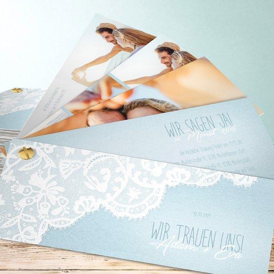 Pastellspitze - Kartenfächer 210x80 - Blau