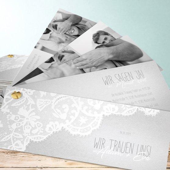 Pastellspitze - Kartenfächer 210x80 - Hellgrau