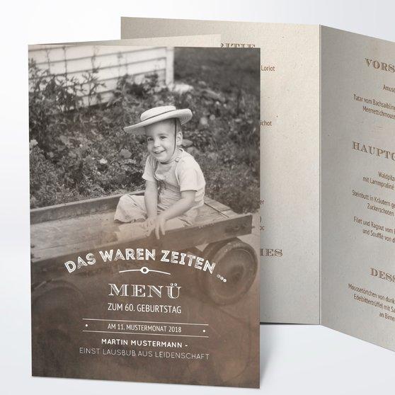 Menükarten Geburtstag - Alte Zeiten 60