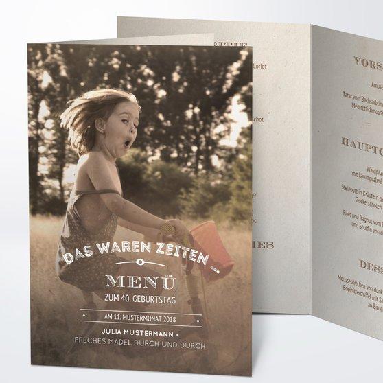 Menükarten Geburtstag - Alte Zeiten 40