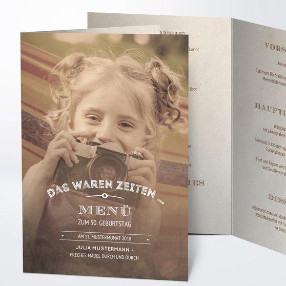 Menükarten Geburtstag - Alte Zeiten 50