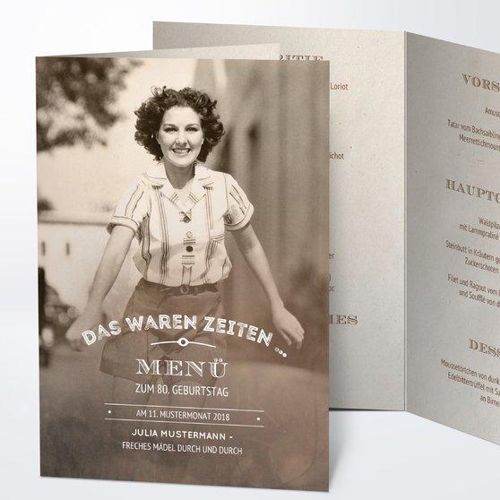 Menükarten Geburtstag - Alte Zeiten 80