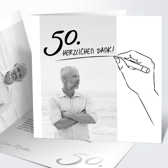 Handgeschrieben - Quadratische Klappkarte 145x145 - Weiß