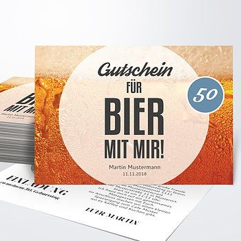 Geburtstagseinladungen   Gutschein Bier