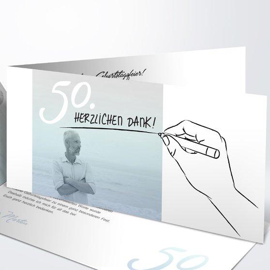 Handgeschrieben - Horizontale Klappkarte 210x100 - Feines Blau