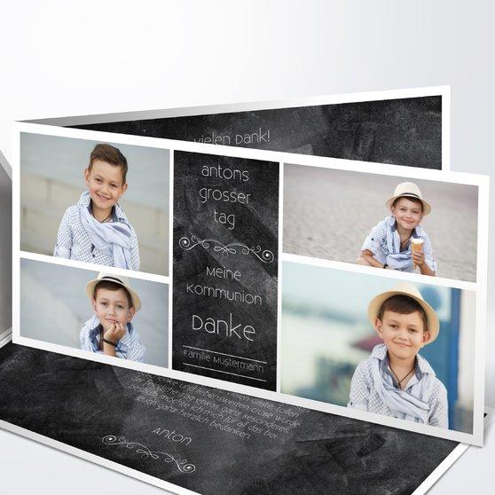 Kommunionstafel - Horizontale Klappkarte 210x100 - Schwarz