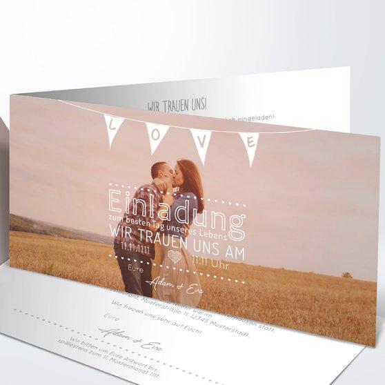 Liebeswimpel - Horizontale Klappkarte 210x100 - Weiß