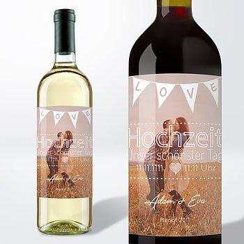 Weinetiketten Hochzeit - Liebeswimpel
