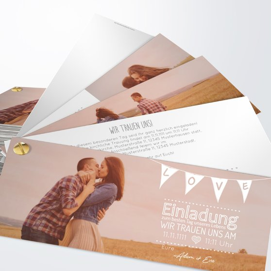 Liebeswimpel - Kartenfächer 210x80 - Weiß