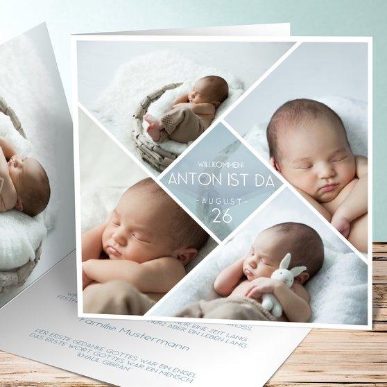 Facetten Baby - Quadratische Klappkarte 145x145 - Blaugrau