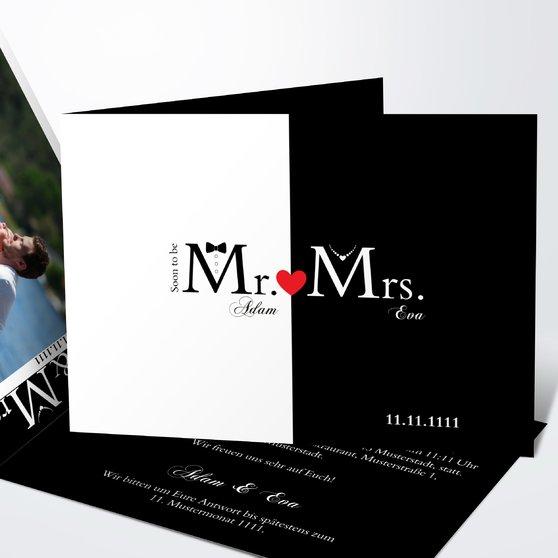 Mr & Mrs - Horizontale Klappkarte 148x105 - Weiß