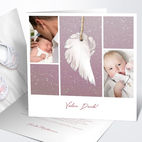 Danksagung zur Taufe - Zarte Flügel Baby