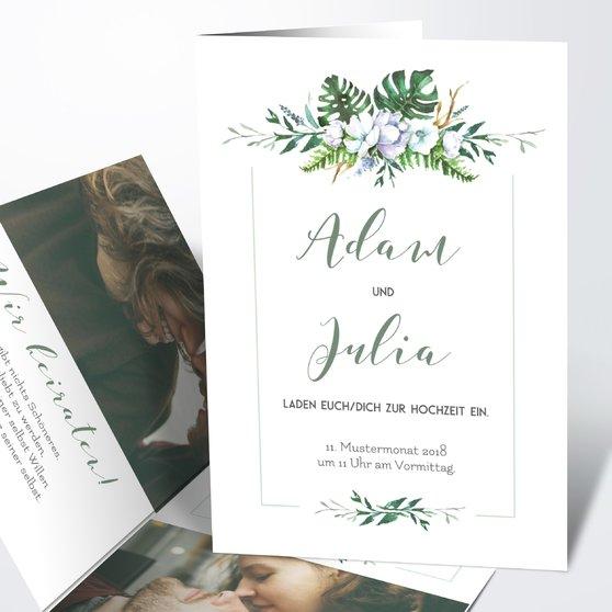 Blütentraum - Vertikale Klappkarte 105x148 - Weiß
